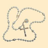 Catholic Rosary MOP & Sterling Vintage Cross Blue Enameled Medal Rosenkranz Antik Kreuz