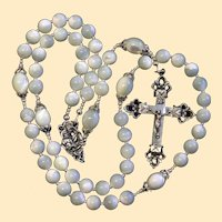 Catholic Rosary Mother Of Pearl & Sterling Vintage Cross Rosenkranz Antik Kreuz