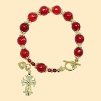 Catholic Rosary Bracelet Faceted Genuine Ruby and Vermeil