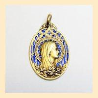 Vintage 18 K Gold Plique-à-Jour Mary Heavy Pendant Medal 1929 by Mazzoni