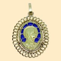 Vintage 1920's 18 K Gold Plique-à-Jour Virgin Mary Pendant Medal in Open Work Frame