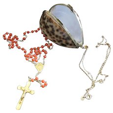 1930's Vintage Coral & Vermeil Catholic Rosary in Pendant Tiger Cowry Shell box, Rare, Charming