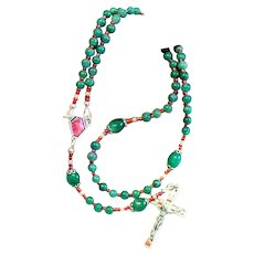 Catholic Rosary Genuine Round Clear Emeralds - Lourdes Vintage Cross and Center