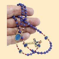 Catholic Rosary Genuine Round Clear Sapphire - Fatima Vintage Cross and Center