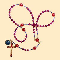 Catholic Rosary Genuine Round Ruby - Lourdes Vintage Cross, Center & Vintage Medal