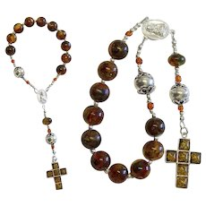 Catholic Travel Rosary Chaplet Vintage Green Genuine Amber and Sterling Silver