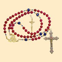 Catholic Rosary Ruby, Vermeil & Micro Mosaic, Wearable, 9 Uses, 2 crosses – RARE - UNIQUE