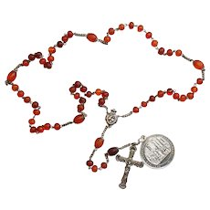 1862 Baltic Amber and Sterling Catholic Rosary with Sacraments Medal - V. Rare