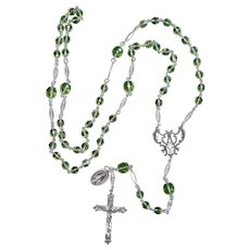 Vintage Uranium Vaseline Faceted Glass and Sterling Catholic Rosary Special & V. Rare