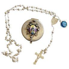 ALL Sterling Vintage Catholic Mini Rosary in Box with Enamel Virgin Medal- Charming