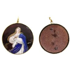 Late XIXth Cent Vintage Hand Painted High Relief Enamel Mary Medal in 18K Gold Frame
