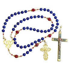 Catholic Rosary Sapphire, Vermeil & Micro Mosaic, Wearable, 9 Uses, 2 crosses – RARE - UNIQUE