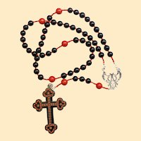 Catholic Rosary Jet, Sterling & Coral with Vintage Gutta Percha Studded Cross Rare Unique