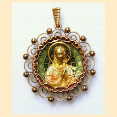18 K Gold Plique-à-Jour Polychrome Enamel 1920's Virgin Medal w Chain XXR