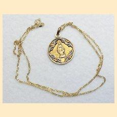 Art Nouveau Vintage FIX Gold Plated Immaculate Conception Medal Pendant & Vermeil Chain