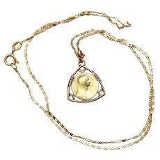 Art Deco Vintage FIX Gold Plated w Marcassites Lourdes Medal Pendant & Vermeil Chain