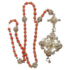 Antique Coral Bavarian Filigree Silver Catholic Chain Rosary with Filigree Cross