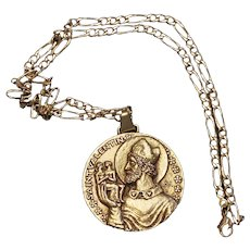 1950's Vintage St Valentine Gold Plated Large Medal w Chain - Rare