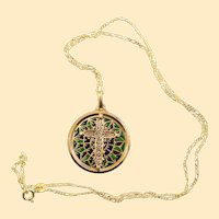 Vintage 18 K Gold Plique-à-Jour Filigree Cross Pendant Medal 1930's w Chain
