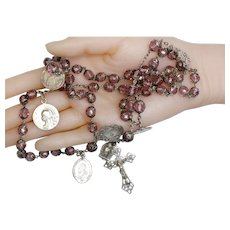 1912 Amethyst Rock Crystal and Sterling Silver French Catholic Rosary w Many Rare Medals – Very Rare