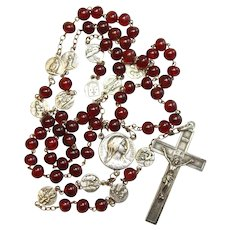 1930's Genuine Red Amber & Sterling Catholic Rosary - St Thérèse's Life - Absolute Rarity