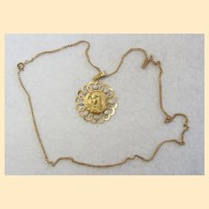 Vintage 18K. Solid Gold Open Work Large Medal Virgin Mary & 18K Chain - 1920's
