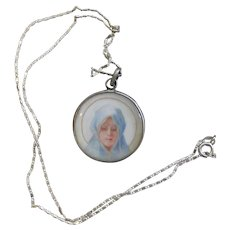 19th Century Sterling Medal Pendant Hand Painted Miniature of Maria Dolorosa w Sterling Chain - XXR