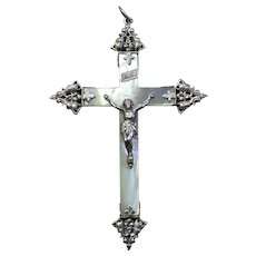 Early 20th Century French Mother of Pearl and Sterling Silver Cross - Crucifix