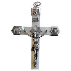 Impressive,Rare V. Large French MOP & Sterling Cross Crucifix, 125 years old. Pristine, Unique