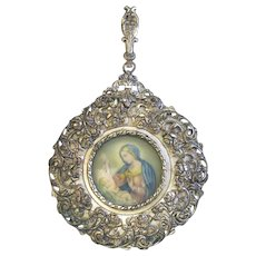 Late XIXth Cent. Fine Miniature Hand Painting - Madonna and Child - in Silver Plated Frame - Italy