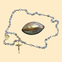 Vintage MOP and Vermeil Catholic Rosary in Ormolu Egg Shaped Shell box – Rare - Exquisite