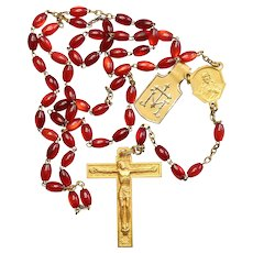 Catholic Vintage Rosary New Old Stock Pomegranate Cat's Eye & Gold Rolled Exquisite Series No17