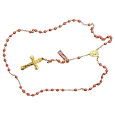 Catholic Vintage Rosary New Old Stock Angel Skin Coral Glass Exquisite Series No14