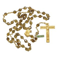 Catholic Vintage Rosary New Old Stock Cognac Amber Crystal Vermeil Exquisite Series No16
