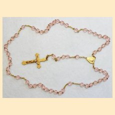 Catholic Vintage Rosary New Old Stock Pink Crystal Vermeil Exquisite Series No13