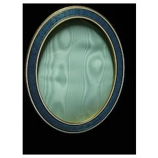 French Bronze and Enamel Oval Picture Frame