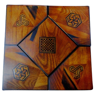 Inlaid Japanese Wood and Lacquer Jewelry Puzzle Box
