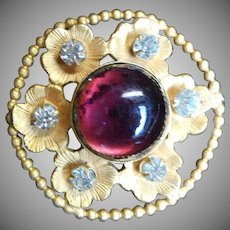Victorian Brass and Amethyst glass Floral form Hatpin