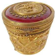 Enamel and Brass Musical Powder Box