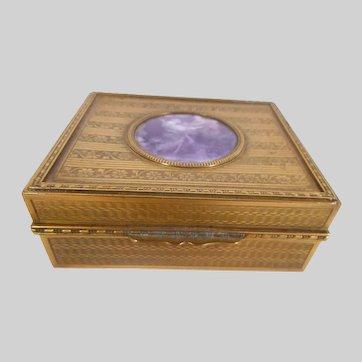 Brass and enamel Cigarette Box