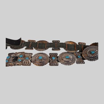 American Indian Turquoise and Silver Belt