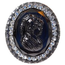 Black Glass Cameo Mourning Hatpin