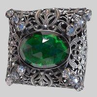 Green Glass Filigree Hatpin