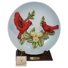 Jonathon Byron Cardinal Plate with Display Stand - Americana Signature Collection Plate