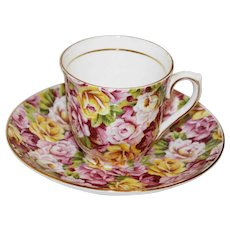 Colclough Rose Garden Chintz Demitasse Cup and Saucer