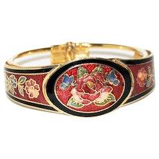 Red Cloisonne Enamel Cuff Bracelet - Roses - Butterflies