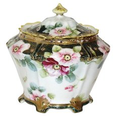 Nippon Floral Porcelain Biscuit Jar - Hand Painted