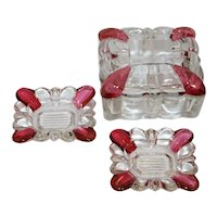 Crystal and Cranberry Flashed Glass Cigarette Box and Individual Ashtrays