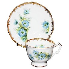 Aynsley Blue Daisy Tea Cup and Saucer
