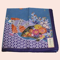 Colorful Asian Handkerchief with Hand Fans and Flowers - Signed